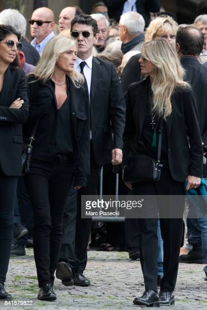 Singer Marc Lavoine and Sarah Lavoine attend actress Mireille Darc's Funeral at Eglise SaintSulpice on September 1 2017 in Paris France