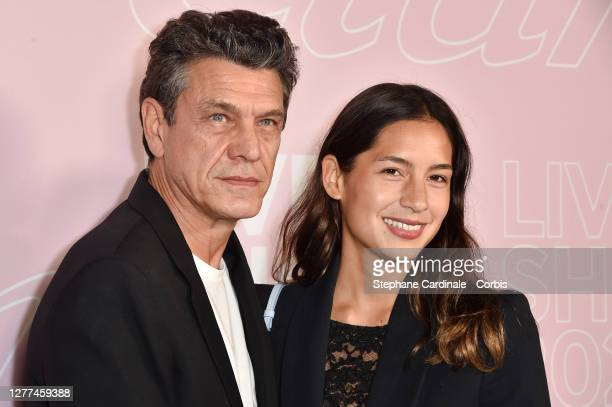 Singer Marc Lavoine and wife Line Papin attend the Etam Womenswear Spring/Summer 2021 show as part of Paris Fashion Week on September 29 2020 in...