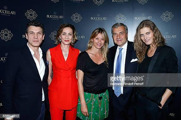 Singer Marc Lavoine Maria Cristina Buccellati Sarah Lavoine Andrea Buccellati and Malgosia Bella attend the Opening of the Boutique Buccellati...