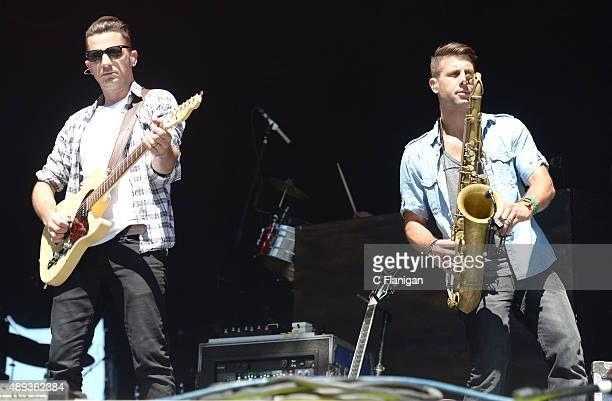 Singer Marc Roberge and horn player Jerry DePizzo of O.A.R performs during 2015 KAABOO Del Mar at the Del Mar Fairgrounds on September 20, 2015 in...