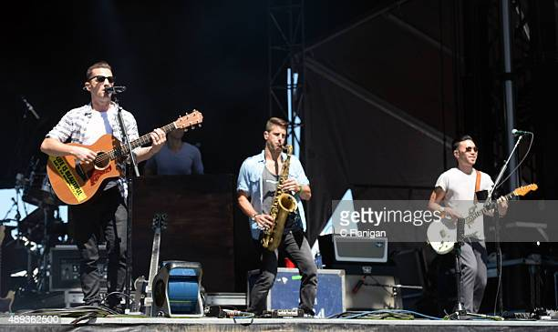 Singer Marc Roberge, horn player Jerry DePizzo and guitar player Richard On of O.A.R performs during 2015 KAABOO Del Mar at the Del Mar Fairgrounds...