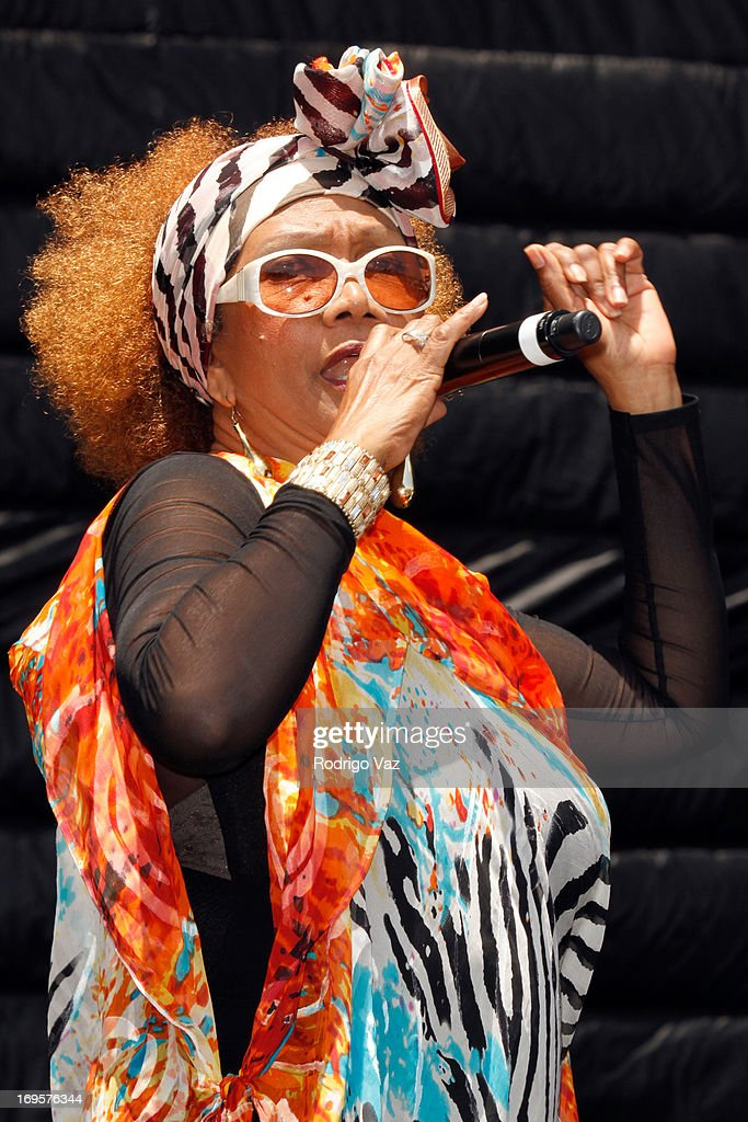 Singer Marcia Griffiths performs at the 27th Annual JazzReggae Festival - Day 2 at UCLA on May 27, 2013 in Los Angeles, California.