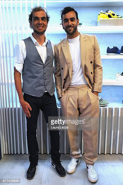 Singer Marco Mengoni and Diadora President and CEO Enrico Moretti Polegato attend Diadora Heritage during Pitti Uomo 88 at Fortezza da Basso on June...