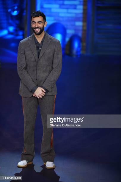 Singer Marco Mengoni attends 'E Poi C'e Cattelan Tv Show' on April 11, 2019 in Milan, Italy.