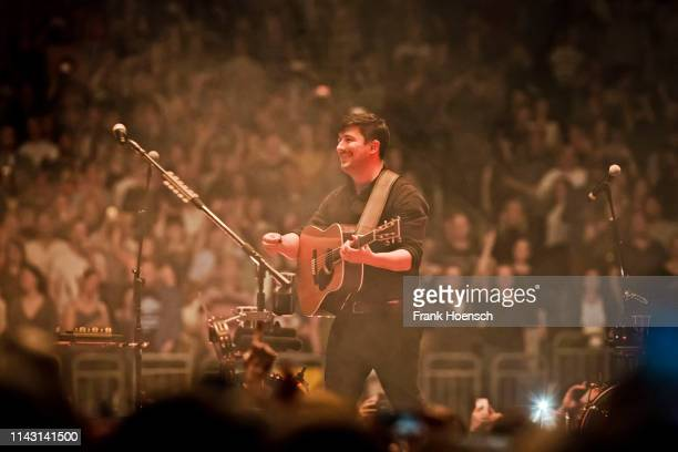 Singer Marcus Mumford of the British band Mumford & Sons performs live on stage during a concert at the Mercedes-Benz Arena on May 11, 2019 in...