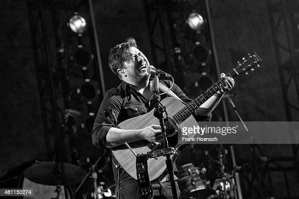 Singer Marcus Mumford of the British band Mumford Sons performs live during a concert at the Waldbuehne on July 17 2015 in Berlin Germany