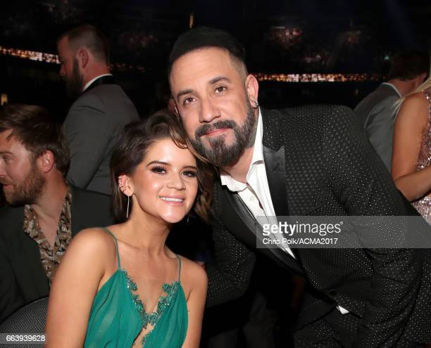 Singer Maren Morris and singer AJ McLean of the music group Backstreet Boys attend the 52nd Academy Of Country Music Awards at TMobile Arena on April...