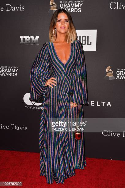 US singer Maren Morris arrives for the traditional Clive Davis party on the eve of the 61th Annual Grammy Awards at the Beverly Hilton hotel in...