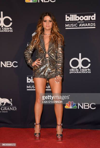 Singer Maren Morris poses in the Press Room during the 2018 Billboard Music Awards 2018 at the MGM Grand Resort International on May 20 in Las Vegas...