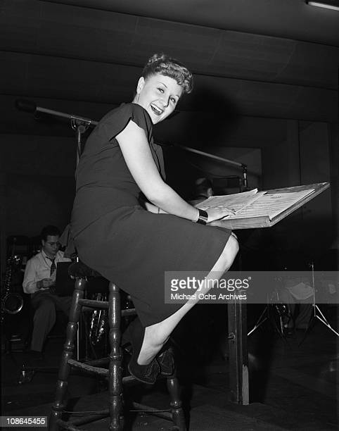Singer Margaret Whiting records in the Capitol Records Studios on October 9 1946 in Los Angeles California