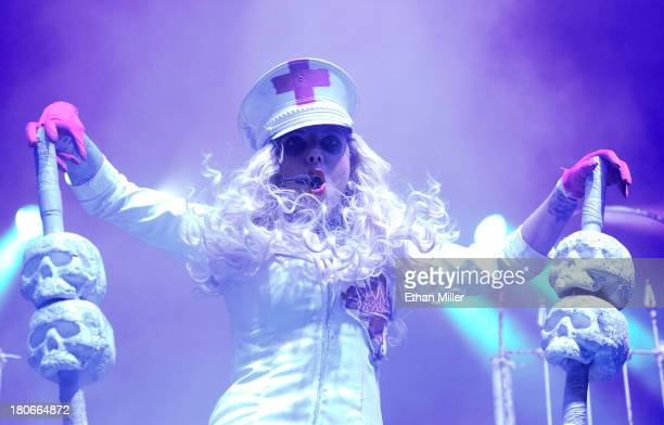 Singer Maria Brink of the band In This Moment performs during the Carnival of Madness tour at The Joint inside the Hard Rock Hotel Casino on...