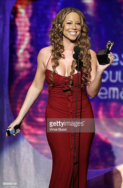 Singer Mariah Carey accepts the award for Best RB/Soul Single Female onstage at the 20th Annual Soul Train Music Awards at the Pasadena Civic...