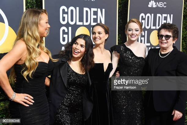 Singer Mariah Carey, actors America Ferrera, Natalie Portman and Emma Stone, and former tennis player Billie Jean King attend The 75th Annual Golden...