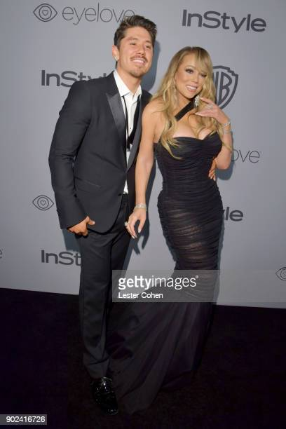 Singer Mariah Carey and Brian Tanaka attend 19th Annual PostGolden Globes Party hosted by Warner Bros Pictures and InStyle at The Beverly Hilton...
