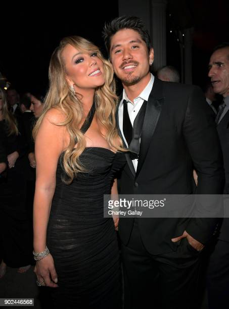 Singer Mariah Carey and Bryan Tanaka attend the 2018 InStyle and Warner Bros 75th Annual Golden Globe Awards PostParty at The Beverly Hilton Hotel on...