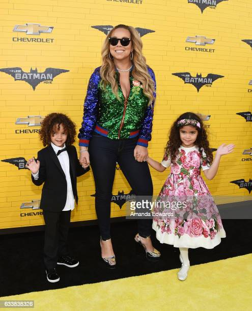 Singer Mariah Carey and her children Moroccan Scott Cannon and Monroe Cannon arrive at the premiere of Warner Bros Pictures' The LEGO Batman Movie at...
