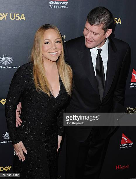 Singer Mariah Carey and James Packer arrive at the 2016 G'Day Los Angeles Gala at Vibiana on January 28 2016 in Los Angeles California