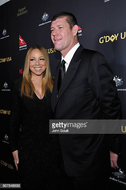 Singer Mariah Carey and James Packer attend the G'Day USA 2016 Black Tie Gala at Vibiana on January 28 2016 in Los Angeles California