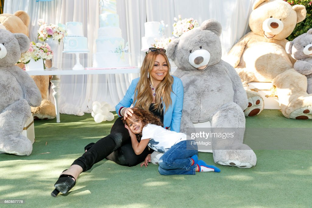 Singer Mariah Carey (L) and Moroccan Scott Cannon attend the Moroccan Scott Cannon and Monroe Cannon Party on Mary 13 in Los Angeles, California.