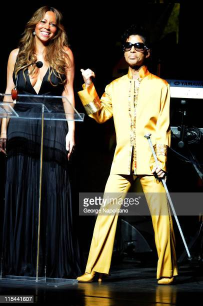 Singer Mariah Carey and Prince attend the Apollo Theater's 75th Anniversary Gala at The Apollo Theater on June 8 2009 in New York City