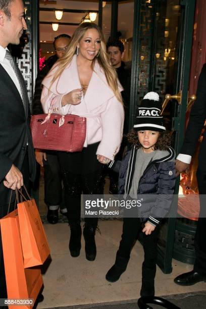 Singer Mariah Carey and son Moroccan Scott Cannon leave the 'Hermes' store on December 8 2017 in Paris France