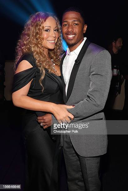 Singer Mariah Carey and TeenNick Chairman and HALO Awards host Nick Cannon attend Nickelodeon's 2012 TeenNick HALO Awards at Hollywood Palladium on...