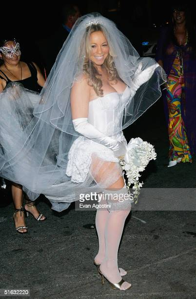 Singer Mariah Carey arrives at her Halloween party at Cain October 31 2004 in New York City