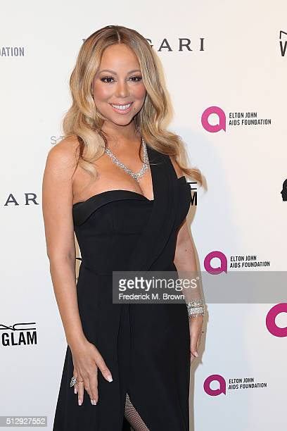 Singer Mariah Carey attends the 24th Annual Elton John AIDS Foundation's Oscar Viewing Party on February 28 2016 in West Hollywood California