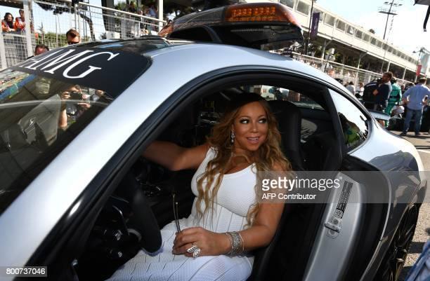 Singer Mariah Carey attends the Formula One Azerbaijan Grand Prix at the Baku City Circuit in Baku on June 25 2017 / AFP PHOTO / Andrej ISAKOVIC