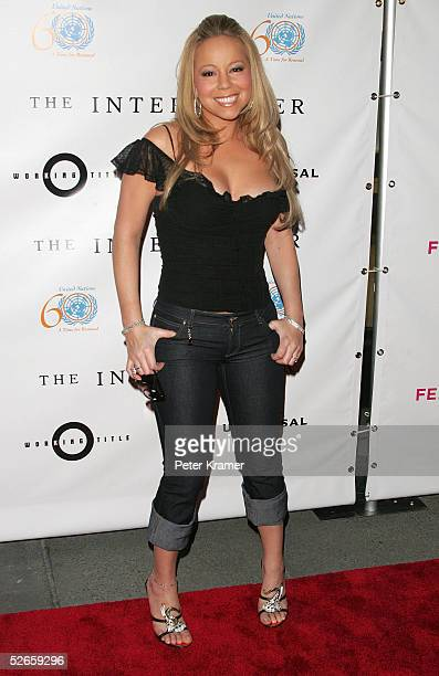 Singer Mariah Carey attends The Interpreter premiere at the Ziegfeld Theatre April 19 2005 in New York City