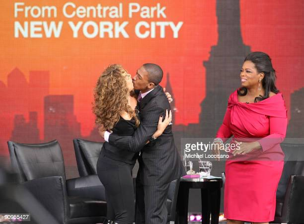 Singer Mariah Carey her husband Nick Cannon and TV personality Oprah Winfrey appear on The Oprah Winfrey Show Fridays Live From New York at Rumsey...