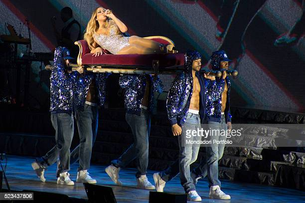 Singer Mariah Carey in concert at the Mediolanum Forum during the Italian date of her Sweet Sweet Fantasy Tour Assago Italy 16th Aprile 2016