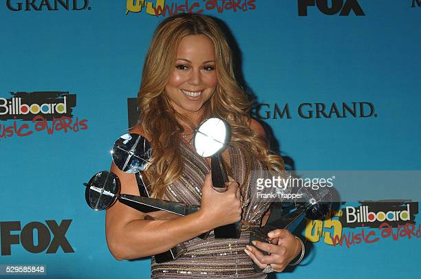 Singer Mariah Carey in the press room with her five awards award for Hot 100 Song of the Year Hot 100 Airplay of the Year Rhythmic Top 40 Title of...
