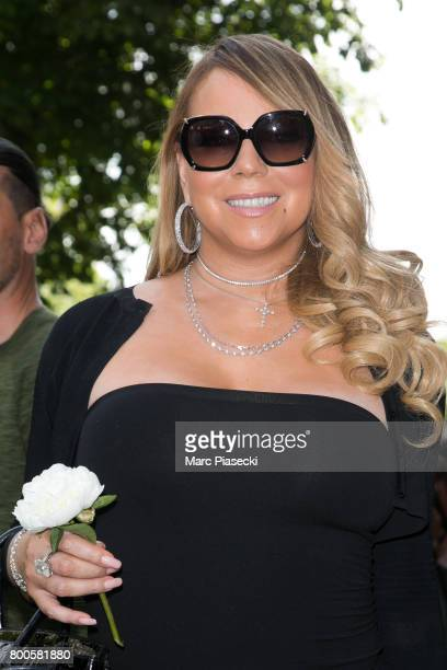 Singer Mariah Carey leaves the Plaza Athenee Dorchester Collection Hotel on Avenue Montaigne on June 24 2017 in Paris France