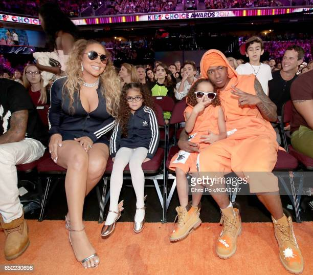 Singer Mariah Carey Monroe Cannon Moroccan Scott Cannon and TV personality Nick Cannon at Nickelodeon's 2017 Kids' Choice Awards at USC Galen Center...