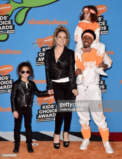 Singer Mariah Carey Nick Cannon daughter Monroe Cannon and son Moroccan Cannon attend Nickelodeon's 2018 Kids' Choice Awards at The Forum on March 24...