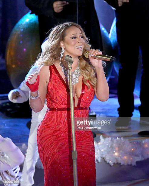 Singer Mariah Carey performs at the 82nd Annual Rockefeller Center Christmas Tree Lighting on December 3 2014 in New York City