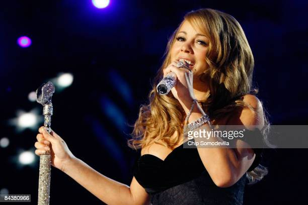 Singer Mariah Carey performs at the Neighborhood Inaugural Ball at the Washington Convention Center on January 20 2009 in Washington DC Obama became...