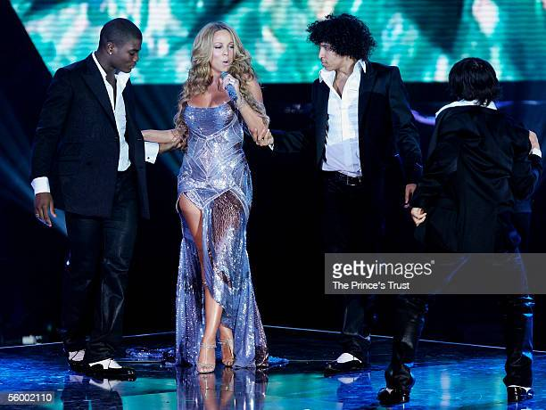 Singer Mariah Carey performs on stage for Versace at the Swarovski Fashion Rocks for The Prince's Trust event at the Grimaldi Forum October 17 2005...