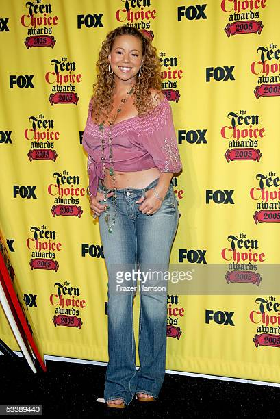 Singer Mariah Carey poses in the press room at the 2005 Teen Choice Awards held at Gibson Amphitheatre at Universal CityWalk on August 14 2005 in...