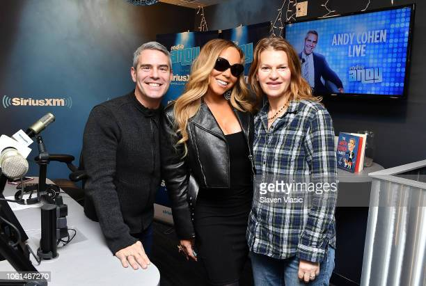 Singer Mariah Carey poses with hosts Andy Cohen and Sandra Bernhard at Radio Andy at SiriusXM Studios on November 14 2018 in New York City