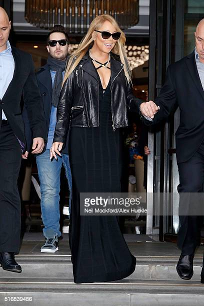 Singer Mariah Carey seen leaving the Corinthia Hotel on her way to a concert at the Motorpoint Arena Cardiff on March 21 2016 in London England