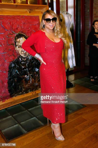 Singer Mariah Carey tries a Dress Created By Azzedine Alaia at Azzedine Alaia Gallery on June 23 2017 in Paris France