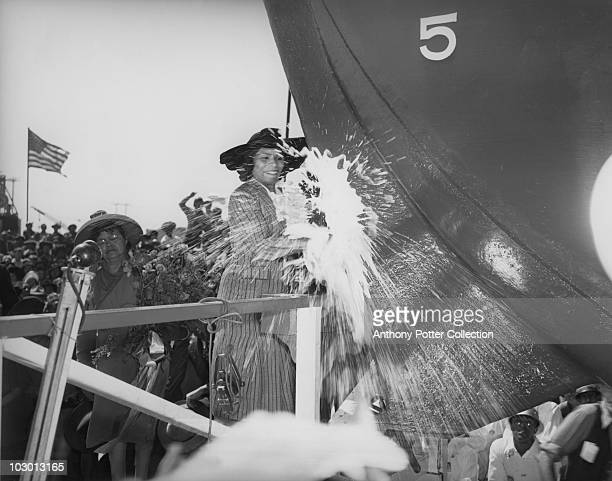 Singer Marian Anderson christens the SS Booker T Washington the first Liberty ship named for a negro at the California Shipbuilding Corporation...