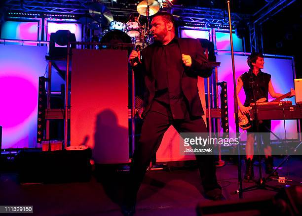 Singer Marian Gold of the German band Alphaville performs live during a concert at the Postbahnhof on March 31 2011 in Berlin Germany