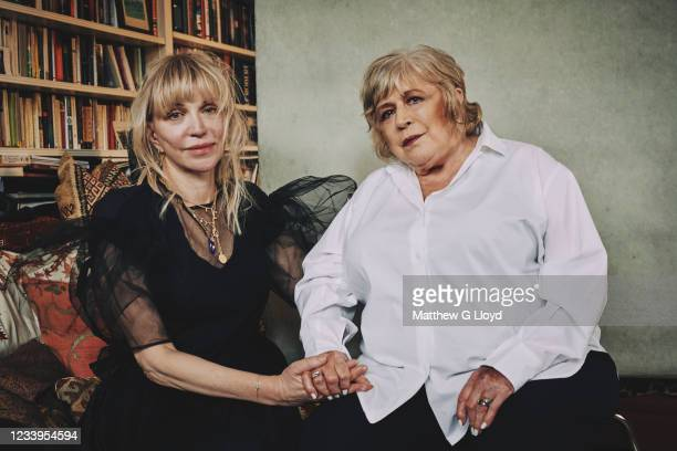 Singer Marianne Faithfull is photographed with Courtney Love for the Los Angeles Times magazine on April 21, 2021 in London, England.