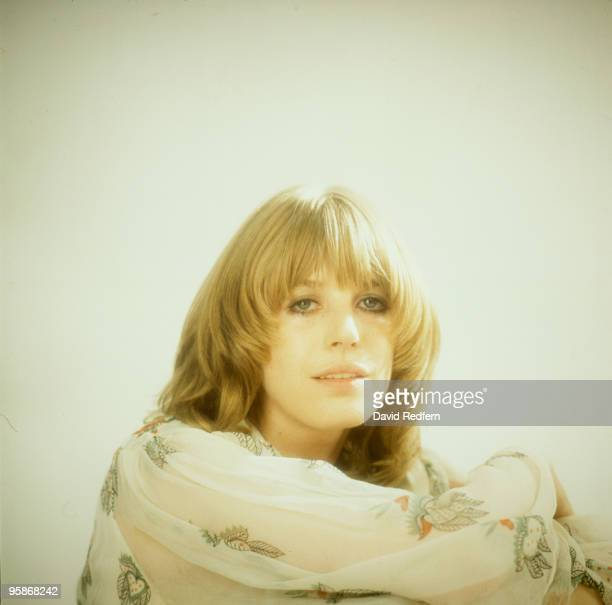 Singer Marianne Faithfull poses in a dress by Ossie Clark in 1973.