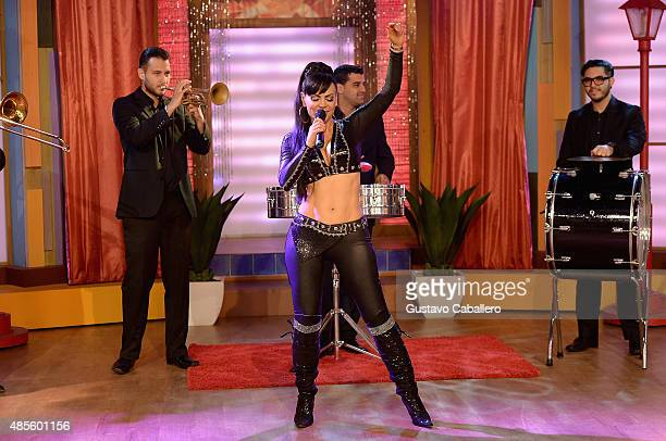 Singer Maribel Guardia is on the set of Univisions Despierta America at Univision Studios on August 28 2015 in Miami Florida