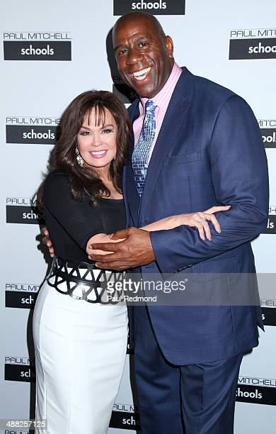 Singer Marie Osmond and entrepreneur/retired NBA player Earvin 'Magic' Johnson Jr attend the 11th Annual Paul Mitchell Schools' 2014 FUNraising Gala...