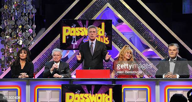 Singer Marie Osmond, tv personalities Regis Philbin and Tom Bergeron and actors Charo and Fred Willard speak onstage during the 42nd Annual Daytime...